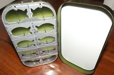 Aluminum Fly fishing box Olive in color 10 compartment with flat foam New