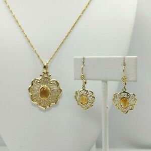 14K Gold - Yellow Stone Necklace and Earring Set - 8 Grams