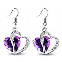 Luxury Purple Zircon Two Hearts Silver Tone Drop Earrings E864