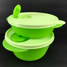 Tupperware Crystalwave Microwave Set of 2 Bowls Green Lunch Containers New