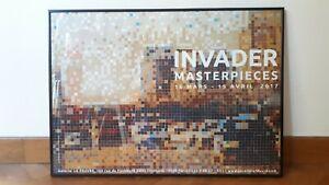INVADER - MASTERPIECES, RARE Affiche de l'exposition Invader - Galerie Le Feuvre