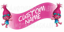 Poppy Troll Room Decor -  Wall Decal Removable Sticker CUSTOM NAME-Pink