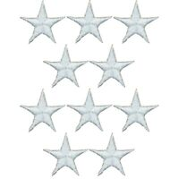 """Star Applique Patch - White 5/8"""" (10-Pack, Iron on)"""
