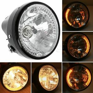 """7"""" Motorcycle Halogen Round Headlight Lamp For Harley Bobber Dyna Yellow Light"""