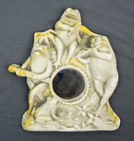 Antique Chalkware Hand Painted Frog Musicians Mirror Wall Hanging