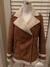 Dark brown shearling AVIATOR BOMBER coat women size small