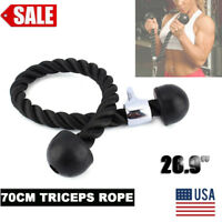 Double Gym Tricep Rope Handle Rubber Push Pull Down Cable Attachment Exercise US