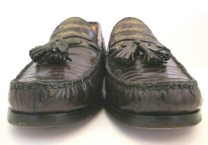 Men's Polo Ralph Lauren Dark Brown Genuine Crocodile Tasseled Loafers Size 11.5D