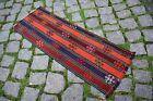 Stunning Small Kilim Rug 12'' x 32'' Caucasian Embroidered Shahsavan Jajim Kilim