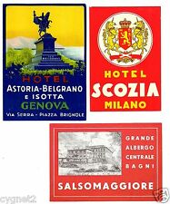 LUGGAGE LABELS GROUP OF 11 ITALIAN HOTELS ROME FLORENCE MILAN & OTHERS