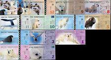 LOT SET SERIE 13 BILLETS Arctic TERRITOIRES POLAR POLYMER 2010 - 2013 UNC NEUF
