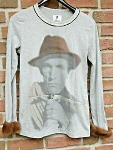 Luis Trenker  Langarm - Shirt   grau mit Pelzbesatz und Strass - Steinchen  dt 4