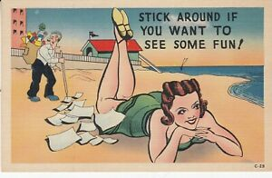 Stick Around if You Want to see Some Fun - Postcard - Girlie on Beach