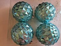 4 Turquoise Geometric 4 Inch Christmas Ornament Decoration Shatter Resistant