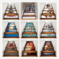 6Pcs 3D Christmas Stair Riser Decals Wall Tile Stickers Wallpaper Self Adhesive