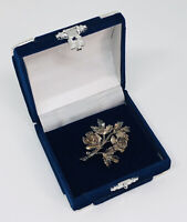 Vintage Brooch Silver Tone Floral Rose Design Pretty Retro Kitsch Costume Gift