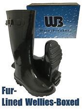 Fur Lined Gloss Black Color Wellington Boots Ladies Women Girl Festival Rain NEW