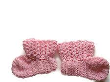 """Baby Booties Baby Shoes Crochet Booties Newborn Shoes 4 """" Pink OOAK"""