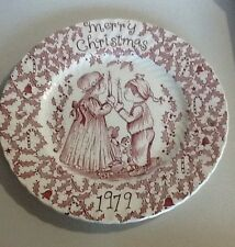 "STAFFORDSHIRE ENGLAND ROYAL CROWNFORD NORMA SHERMAN 1979 RED CHRISTMAS 9"" PLATE"