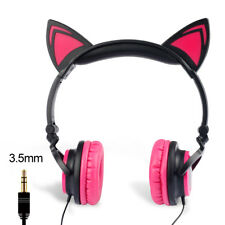 Foldable Cat Ear Flashing Headphone Glowing LED Light Headset Earphone Kids Girl