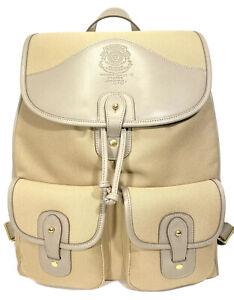 GHURKA Blazer No. 278 Canvas Leather Backpack Khaki Fog Gray (MSRP $995)