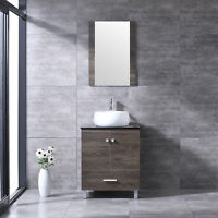 "24"" Bathroom Vanity Wood Cabinet Round White Ceramic Sink Combo w/Mirror Modern"