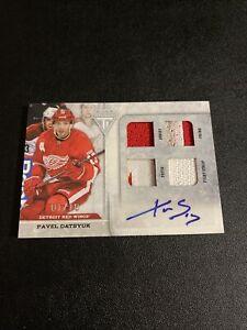 2011-12 Panini Titanium Pavel Datsyuk Quad Game Used Memorabilia Autograph 01/10