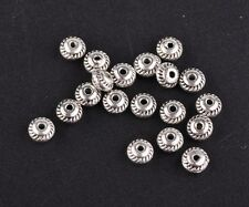 500pcs 5mm Tibetan Silver Rondelle Metal Charms Findings Loose Spacer Beads