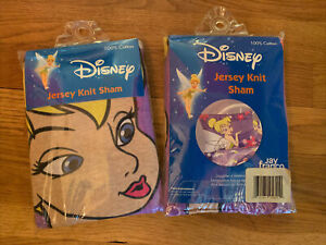New Lot Of 2 Purple Disney Tinkerbell  Jersey Knit Pillow Shams 100% Cotton