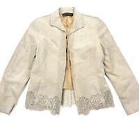 Lafayette 148 New York Womens 100% Suede Jacket Open Front Tan • Petite • Size 6