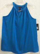 Womens INC Lapis Lazuli Hardware-Trim Keyhole Halter Top Sz XL