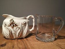VINTAGE  MILK JUG / CREAMERS - GLASS AND CERAMIC - EARLY 20TH C