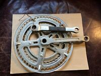"8"" Chrome Dual Chainring w/ Cranks for vintage bicycle 5-point Design"