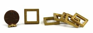 Dollhouse Miniature Set of 6 Small Square Gold Picture Frames