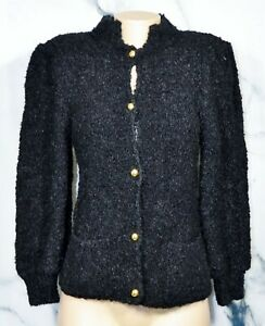 WESTBOUND Vintage Black Acrylic Wool Boucle Cardigan Sweater Small Gold Buttons