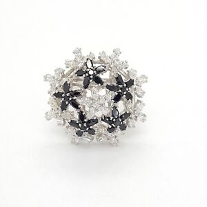 925 Sterling Silver Extra Large Flower White and Black Cubic Zirconia Dress Ring