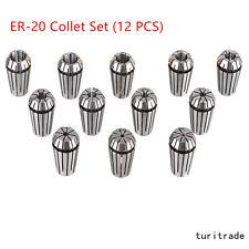 New ER20 12Pcs  Spring Collet Set For CNC Milling Lathe Tool Engraving Machine