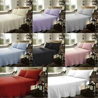 Soft Thermal Flannelette FLAT Sheets Thermal Brushed Cotton Pillowcase All Sizes