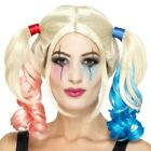 Halloween Fancy Dress Twisted Harlequin Wig Harley Blonde/Red/Blue by Smiffys