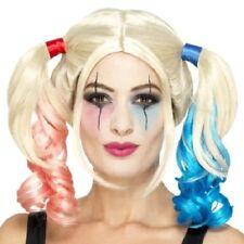 Halloween Déguisements Twisted Harlequin Perruque Harley Blonde/Rouge/Bleu Par Smiffys