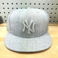New York Yankees MLB Baseball New Era 59FIFTY Solid Gray Hat EUC RARE Sz 7 5/8