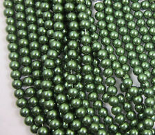 Wholesale 50Pcs Green Glass Pearl Round Spacer Loose Beads 6mm