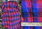 Vintage Hand Loomed Woven Wool Fabric Abstract Plaid Deep Blue Rich Red Black