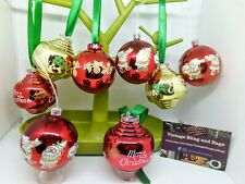 8 65mm 1970s 80s vintage red baubles gold Christmas decorations tree ornaments