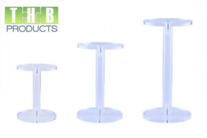"""Set of 3 Clear Acrylic Pedestal Dumbbell Risers / Stands - 4"""", 5"""" & 6"""""""