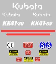Decal Sticker Set. Kubota KX41-3V Mini Digger Pelle Bagger Pelleteuse