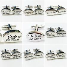 Silver Engraved Wedding Cufflinks BEST MAN GROOM BRIDE PAGEBOY DAD CUFFLINKS