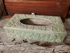 Vintage Ceramic Rectangle Tissue Box Cover Floral Green