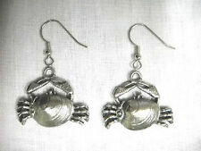 FUN SEA & SURF CRAB IN A CLAM SHELL SOLID PEWTER PENDANT SIZE DANGLING EARRINGS