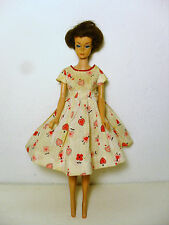 VINTAGE 1958/1962 BUBBLE CUT MIDGE DOLL, ORIGINAL HEART & FLOWER DRESS+PANTIES